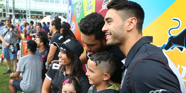 Loading Shaun Johnson was happy to oblige as supporters queued for selfies with the Warriors captain at the Nines Fan Day yesterday. Photo / Nick Reed