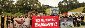 A group of over 40 animal activists braved the wet weather for a second time to rally outside the Whangarei Rodeo. Photo / Supplied
