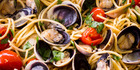 Spaghetti with chorizo and clams. Photo / Dean Purcell