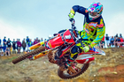 Mount Maunganui's Cody Cooper (Honda Racing Team CRF450), still the man to beat in the MX1 class in New Zealand, winning the MX1 class by four points at Woodville on Sunday. Photo / Andy McGechan, Bikesportnz.com