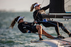 Alexandra Maloney (left) and Tauranga's Molly Meech defended their 49erFX title at the ISAF Sailing World Cup Miami. Photo Sailing Energy