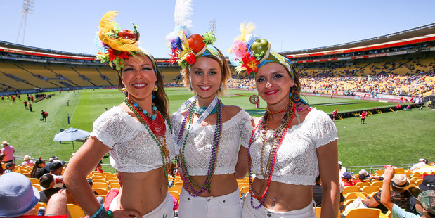 Fans pose during the 2016 Wellington Sevens at Westpac Stadium on January 31, 2016 in Wellington, New Zealand. (Photo by Hagen Hopkins/Getty Images)