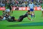 Rieko Ioane of New Zealand scores during the 2016 Wellington Sevens match between New Zealand and South Africa. Many Sky Go users missed the game on their app due to an outage. Photo / Getty