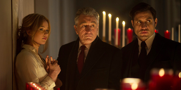 Jennifer Lawrence, Robert De Niro, and Edgar Ramirez, in a scene from the film, Joy. Photo / AP
