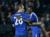 Chelsea's Bertrand Traore, right, celebrates scoring his side's fifth goal with captain John Terry during the English FA Cup fourth round match. Photo / Getty Images.