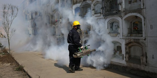A health worker fumigates to prevent, Dengue, Chikunguya and Zika virus, at El Angel cemetery, in Lima, Peru. Photo / AP