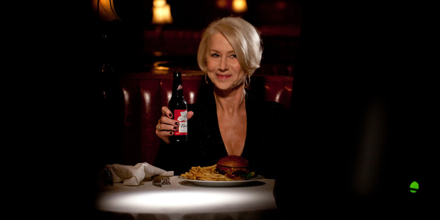 Actress Helen Mirren delivers a lecture about drunk driving and why it's a terrible idea, in a Super Bowl ad for Budweiser. Photo / AP