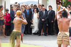 John Key arriving at Te Tii Marae in Paihia last February.