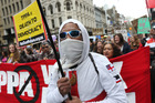 Hundreds of anti-TPP protesters march on the US consulate in Auckland. Photo / NZME