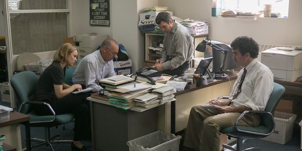 Rachel McAdams, Mark Ruffalo, Brian d'Arcy, Michael Keaton and John Slattery in the film Spotlight which won top honor, best ensemble in a film at the Screen Actors Guild Awards.