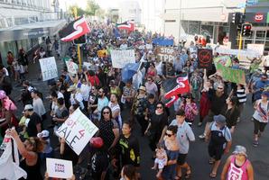 Protest hikoi against the TPPA.
