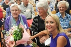 SURVIVING: Oldest 1931 Hawke's Bay earthquake survivor Jean Williams (left), aged 103, meets Minister of Civil Defence Nikki Kaye (front) at the 'quake survivors afternoon tea. PHOTO/ Warren Buckland