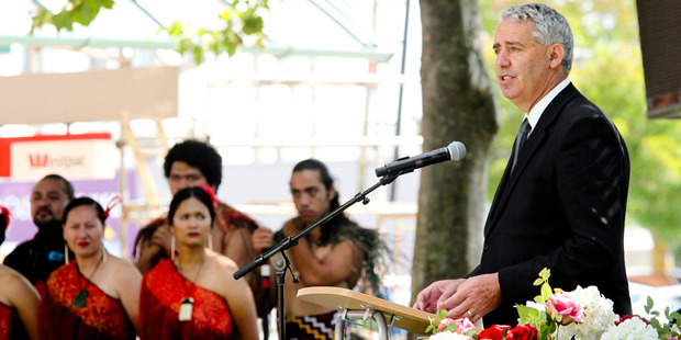 Hastings Mayor Lawrence Yule speaking at the service to commemorate the 85th anniversary of the 1931 Hawke's Bay Earthquake, at the Hastings Clock Tower yesterday. Photo / Warren Buckland