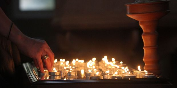 A vigil at St John's Church in Featherston for Hoani Korewha and Pacer Willacy-Scott, who died in a car crash in Masterton after fleeing from police. PHOTO/ANDREW BONALLACK