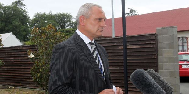 Detective Senior Sergeant Barry Bysouth speaks to reporters at a media conference at the Masterton police station yesterday. PHOTO/ALISA YONG