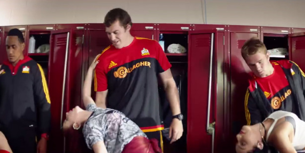 The ad features the Request Dance Crew, led by Goebel, and rugby stars Malakai Fekitoa, Sam Cane, Brodie Retallick and Jerome Kaino. Photo / Facebook