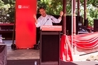 Labour leader Andrew Little addresses supporters in his state of the nation speech during the Labour family picnic held at Albert Park. 31 January 2016 New Zealand Herald Photograph by Dean Purcell.