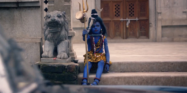 A scene from Coldplay's music video depicting Lord Shiva of the religion Hinduism.