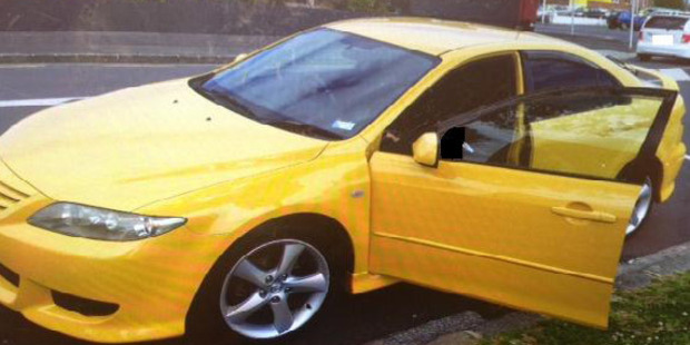 The yellow Mazda Atenza saloon 2003 Shepherd was driving. Photo / Supplied