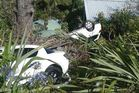 Two cars have crashed into a garden on Piha Rd, Waiatarua in the past four days. Photo / Supplied