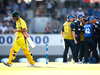 David Warner walks after being given LBW at Eden Park. Photo / Getty