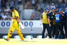 David Warner leaves the field after being dismissed at Eden Park. Photo / Getty