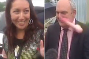 Government minister Steven Joyce was hit in the face by a pink dildo thrown at him by Josie Butler. Photo / Newshub