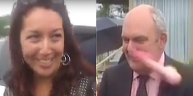 Loading Government minister Steven Joyce was hit in the face by a pink dildo thrown at him by Josie Butler. Photo / Newshub