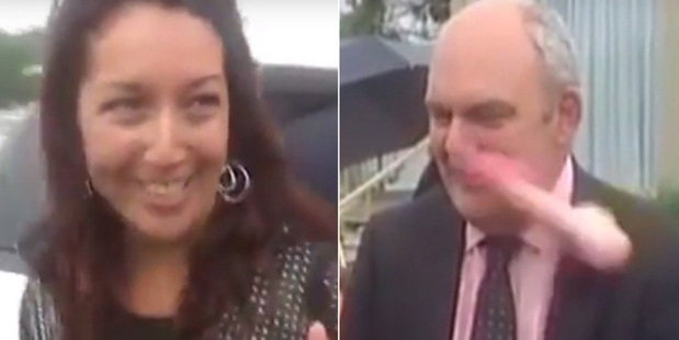 Loading Government minister Steven Joyce was hit in the face by a pink dildo thrown at him by Josie Butler. Photo / YouTube