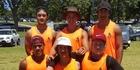CLUB PRIDE: The Kotahi Aroha crew at the Waka Ama Sprint Nationals. Back from left, Tanginoa Matthews, Daniel Kauika, Poutama Hamahona-Taiaroa. Front, Josh Larkin, Matenga Tamehana, Corbin Warren.PHOTO/SUPPLIED