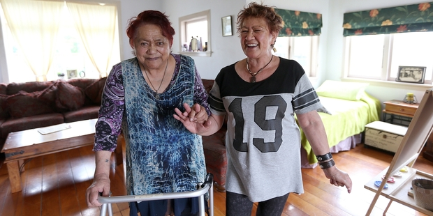 Nancy Kohunui and Janet Kohunui at home in Hamilton after receiving help from The Peoples Project. Photo / Doug Sherring
