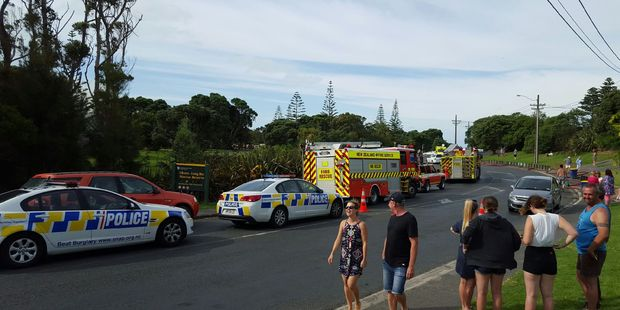 Emergency services attend the scene. Photo / Alexandra Pronk