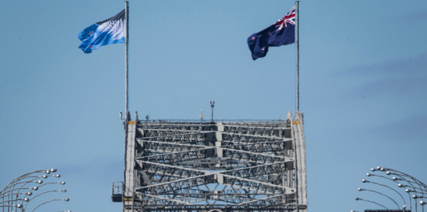The potential new flag is flying alongside the current flag. Photo / Greg Bowker