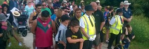 WAITANGI: Part of the crowd taking part in the hikoi in Hastings this morning. PHOTO/DUNCAN BROWN.