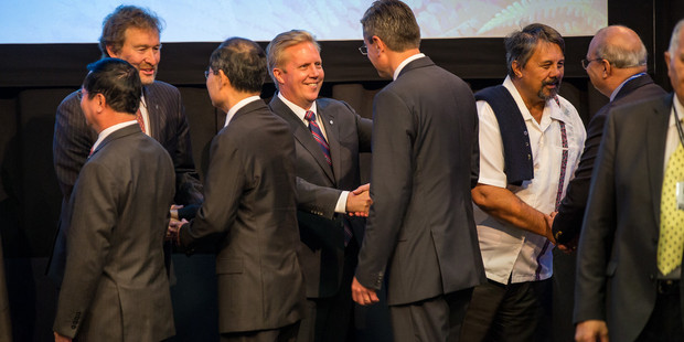 Trade Minister Todd McClay today signed the Trans-Pacific Partnership on behalf of New Zealand, at a ceremony in Auckland. Photo/Supplied