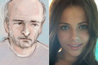 Left, a sketch of Edward Tenniswood in court. Right, India Chipcase, the woman he is accused of murdering.