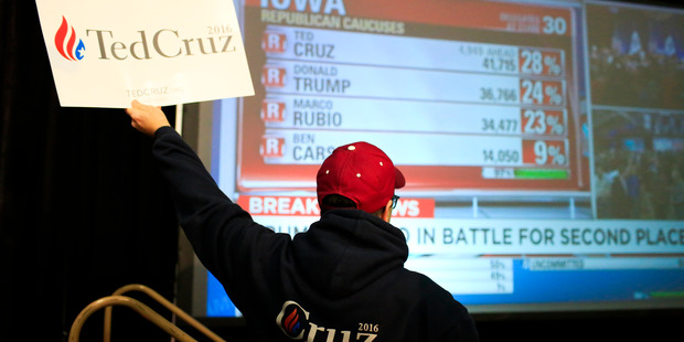 A supporter celebrates during the Election Night Watch Party with Ted Cruz at Iowa State Fair grounds. Photo: The Washington Post / Cassi Alexandra