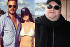 Mark Harrison with Elizabeth Donnelly on holiday. Right, Ms Donnelly's new boyfriend, Kim Dotcom. Photos / Instagram / Getty Images