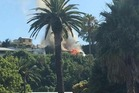 A Napier Hill villa on fire. Photo supplied