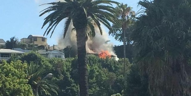 A Napier Hill villa on fire. Photo supplied