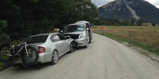 The tourist was allegedly driving his rental van around a bend on the wrong side of the road when it collided with an oncoming car. Photo / Supplied via Police