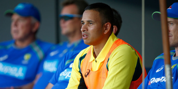 Usman Khawaja of Australia looks on from the sheds. Photo / Getty