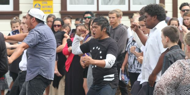 A haka send-off after the service of Pacer Willacy-Scott at the Anzac Hall in Featherston. Photo / Mark Mitchell