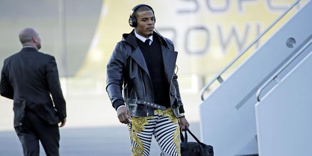 Carolina Panthers' Cam Newton and his zebra-print jeans. Photo / AP