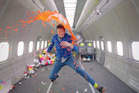A scene from OK Go's new music video for their song Upside Down & Inside Out.