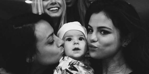 Selena Gomez poses with Brooke Fraser's baby girl, Dylan. Photo / Instagram