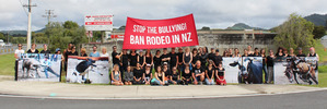 A group of 50 animal activists braved the wet weather for a second time to rally outside the Warkworth Rodeo. Photo / Supplied