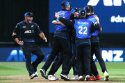 The Black Caps celebrate their series victory over Australia in the third ODI between New Zealand and Australia played at Seddon Park. Photo / Alan Gibson
