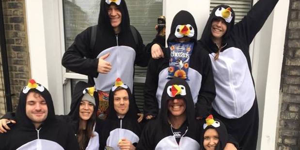 Kiwis in costume for the annual Waitangi Day celebrations in London. Photo: Facebook / Kiwis in London