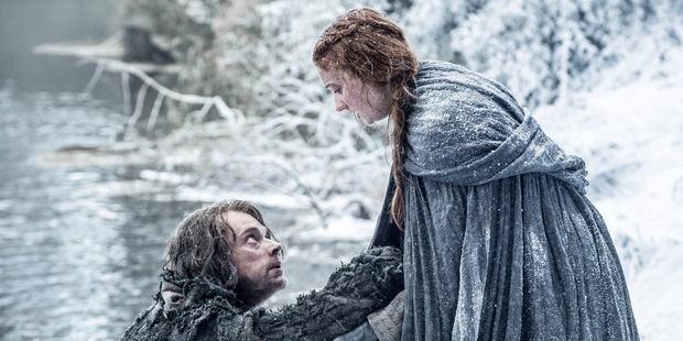 Alfie Allen as Theon Greyjoy and Sophie Turner as Sansa Stark. Photo / HBO